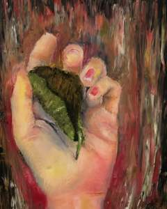 Painting of a hand holding a leaf, done in impressionist style.